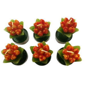 Teelicht-Set, 6-teilig, Tulpe, Orange, BxH 4x7 cm