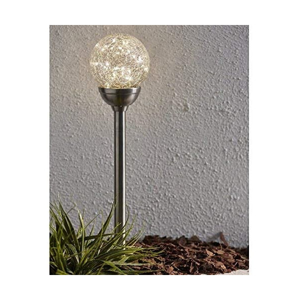 """LED-Solar-Stab """"Glory"""" mit Kugel, silber, 30 warmweisse LEDs, mit Solarpanel, BxH 12 x 45 cm, Outdoor"""