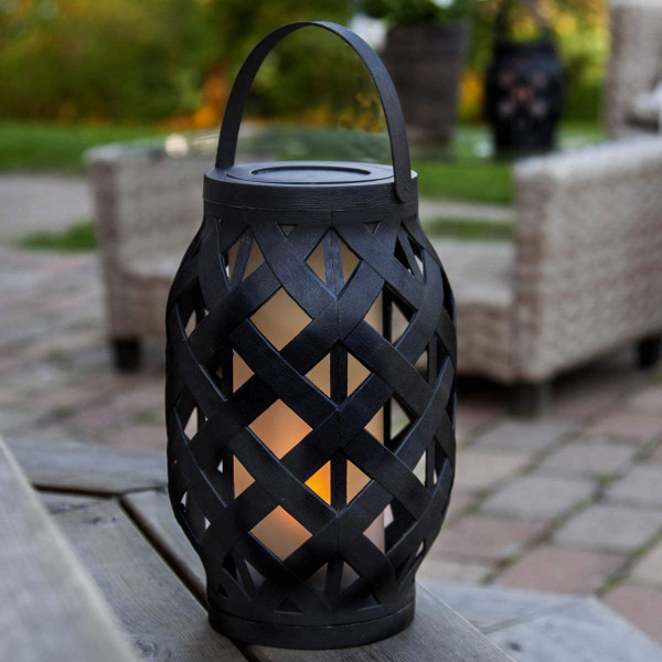 """LED Laterne """"Flame"""", schwarz, ca. 15 x 23 cm, Outdoor"""